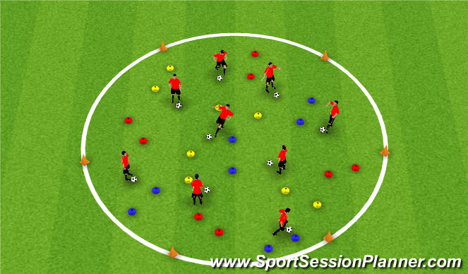 Football/Soccer Session Plan Drill (Colour): Dribbling - Coloured Cones