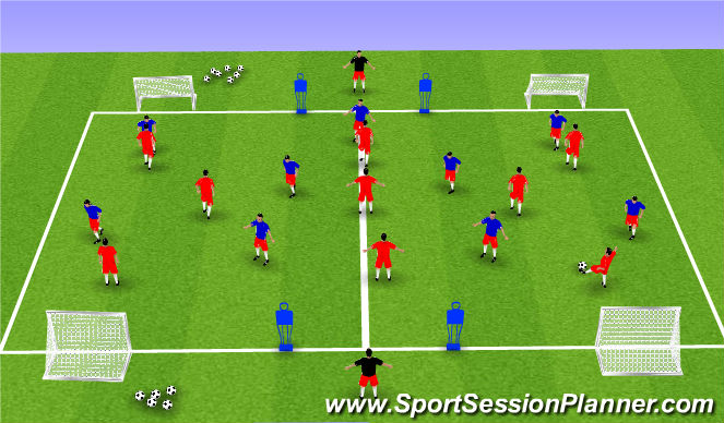 Football/Soccer Session Plan Drill (Colour): Positional Awareness: Pass Retention.