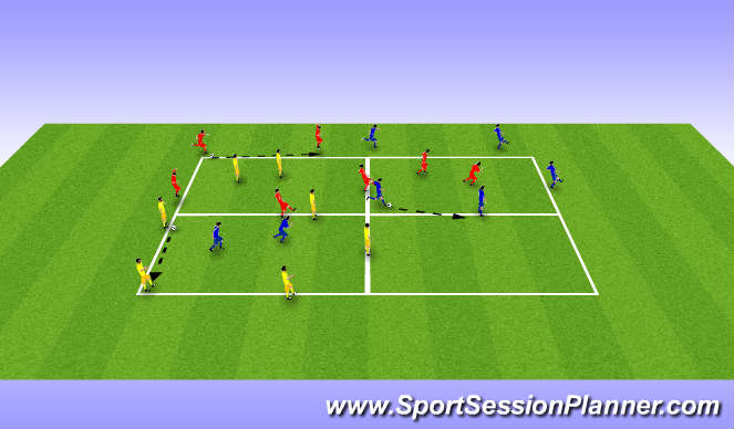 Football/Soccer Session Plan Drill (Colour): 5v2 Possession support