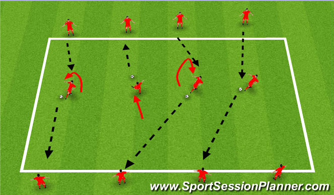 Football/Soccer Session Plan Drill (Colour): Warm Up receiving on half turn