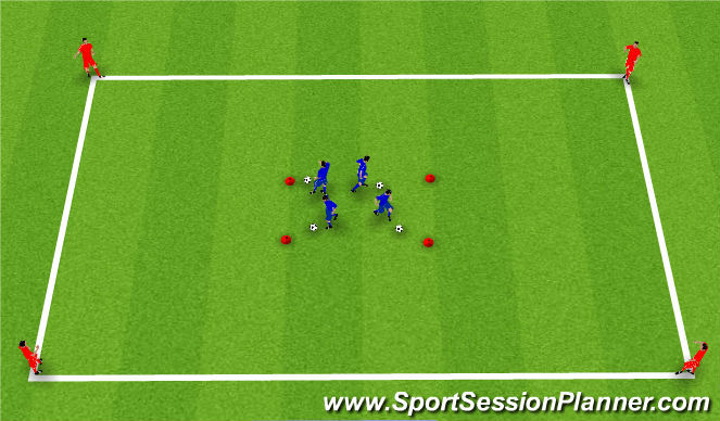 Football/Soccer Session Plan Drill (Colour): Players start with a ball in red box
