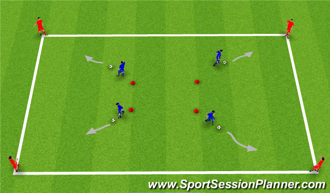 Football/Soccer Session Plan Drill (Colour): Players dribble to outside players