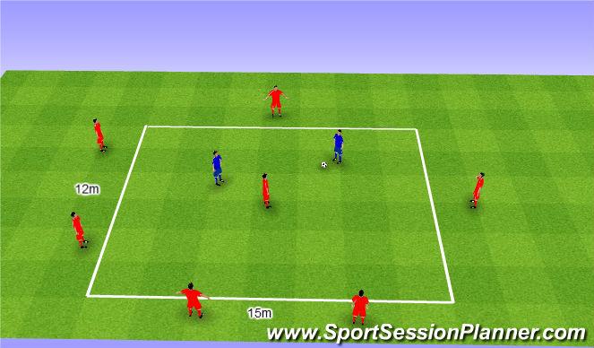 Football/Soccer Session Plan Drill (Colour): Rondo 6v2+1. Dziadek 6v2+1