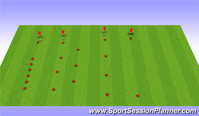 Football/Soccer Session Plan Drill (Colour): Dribbling cirquit. Stacje.