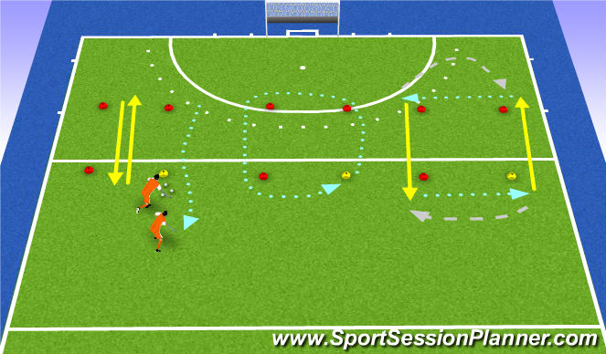 Hockey Session Plan Drill (Colour): square warm up