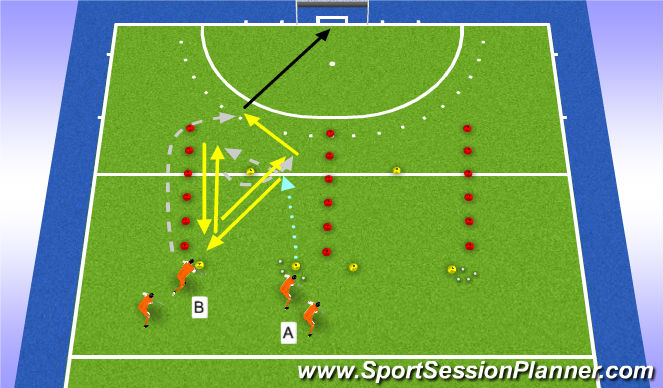 Hockey Session Plan Drill (Colour): passing/aanname 2