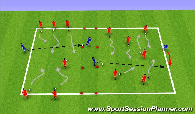 Football/Soccer Session Plan Drill (Colour): Dribble thru traffic grid