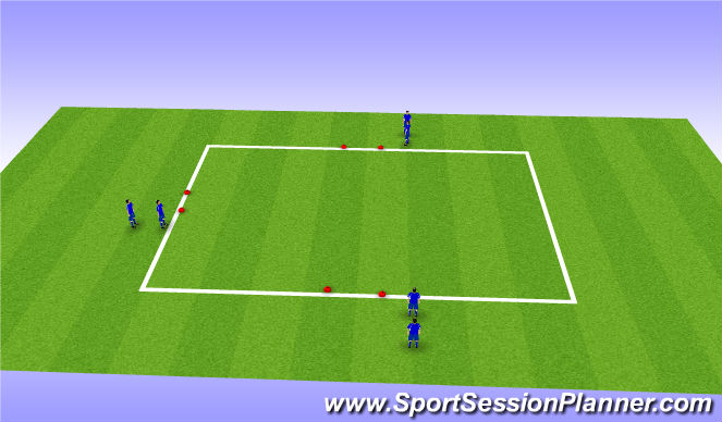 Football/Soccer Session Plan Drill (Colour): 3 goal game (1v2)