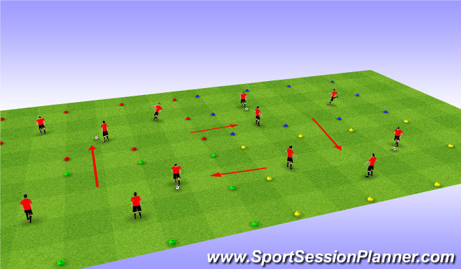 Football/Soccer Session Plan Drill (Colour): Four Team Keepball