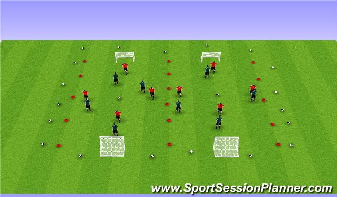 Football/Soccer Session Plan Drill (Colour): 4v4 SSG