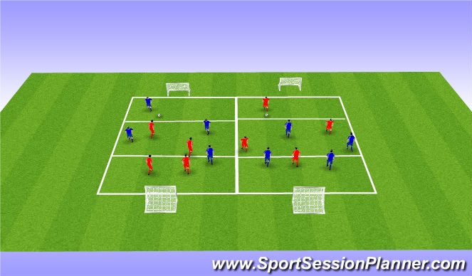 Football/Soccer Session Plan Drill (Colour): 4v4's
