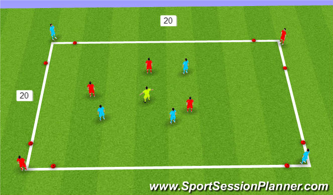 Football/Soccer Session Plan Drill (Colour): SSA 3 v 3 +1 to targets