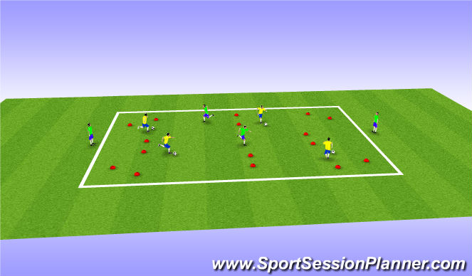Football/Soccer Session Plan Drill (Colour): Multi Gates Competition