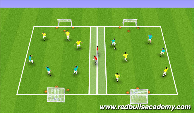 Football/Soccer Session Plan Drill (Colour): Game 3v3/4v4