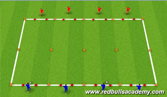 Football/Soccer Session Plan Drill (Colour): 1v1's: Pressure