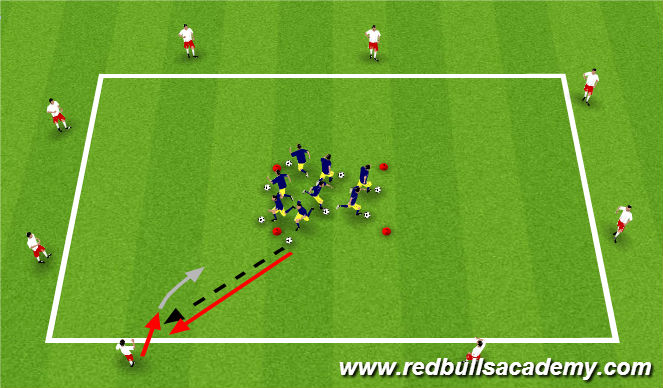 Football/Soccer Session Plan Drill (Colour): Main Theme (Passing & Receiving Gaunlet II)