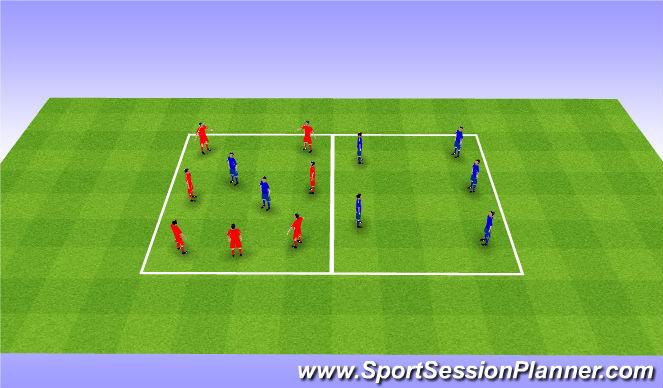 Football/Soccer Session Plan Drill (Colour): Rondo 4v2+2. Dziadek 7v2+2.