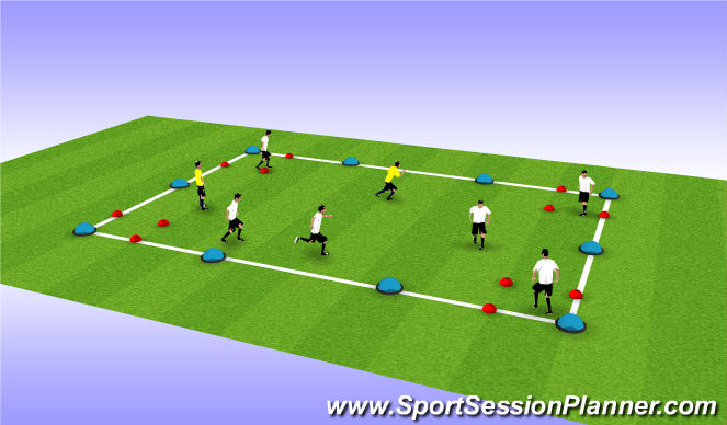 Football/Soccer Session Plan Drill (Colour): 4 Corners Tag