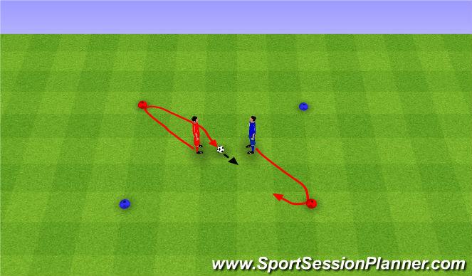 Football/Soccer Session Plan Drill (Colour): Red, Blue, Ball. Czerwień, niebieski, piłka