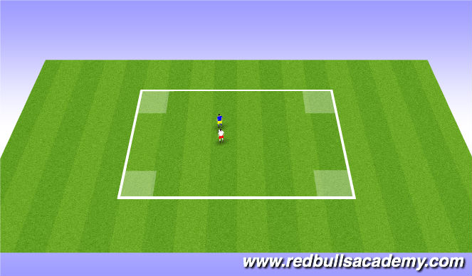 Football/Soccer Session Plan Drill (Colour): 1 vs 1 Fully Opposed