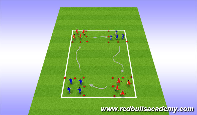 Football/Soccer Session Plan Drill (Colour): Traveling sqaures