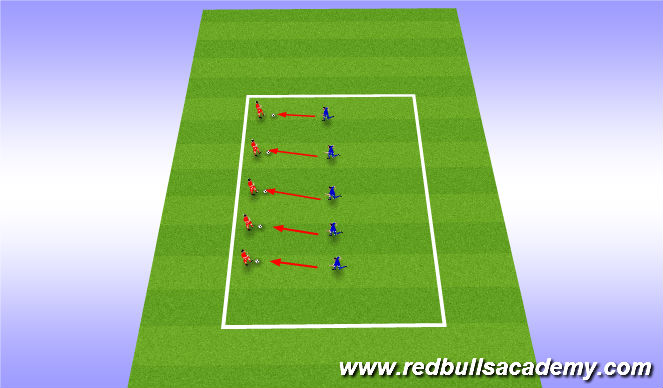 Football/Soccer Session Plan Drill (Colour): closing down attacker