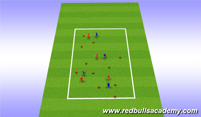 Football/Soccer Session Plan Drill (Colour): 1v1 poke tackle intro