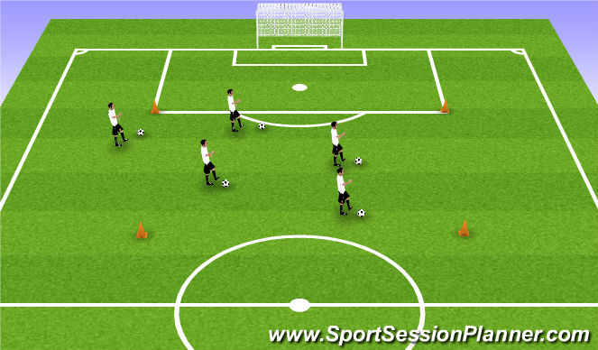 Football/Soccer Session Plan Drill (Colour): Dribbling in Grid