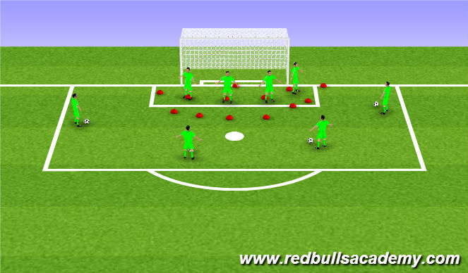 Football/Soccer Session Plan Drill (Colour): Angle Play - 1