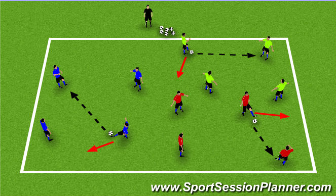 Football/Soccer Session Plan Drill (Colour): Passing & Receiving teams