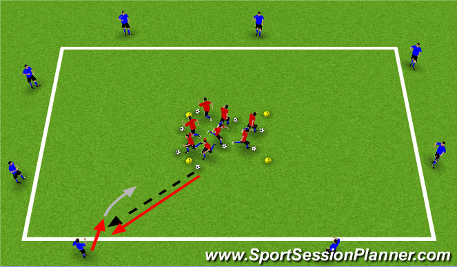 Football/Soccer Session Plan Drill (Colour): Passing & Receiving Gaunlet