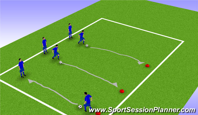 Football/Soccer Session Plan Drill (Colour): Dribbling Pairs