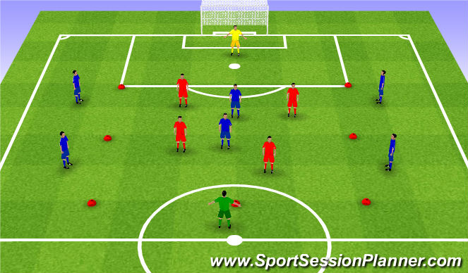 Football/Soccer Session Plan Drill (Colour): Rondo 8v4v2. Dziadek 8v4v2.