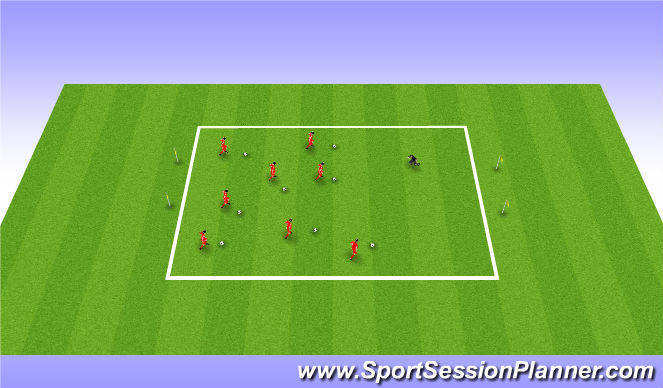 Football/Soccer Session Plan Drill (Colour): Square Dance with Sharks
