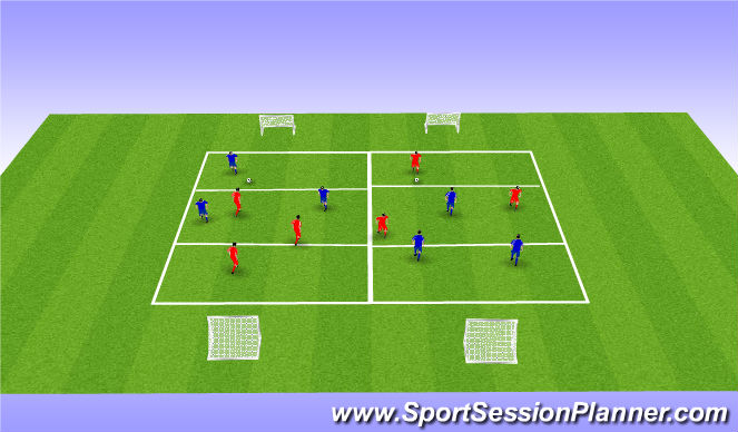 Football/Soccer Session Plan Drill (Colour): 3v3 Game