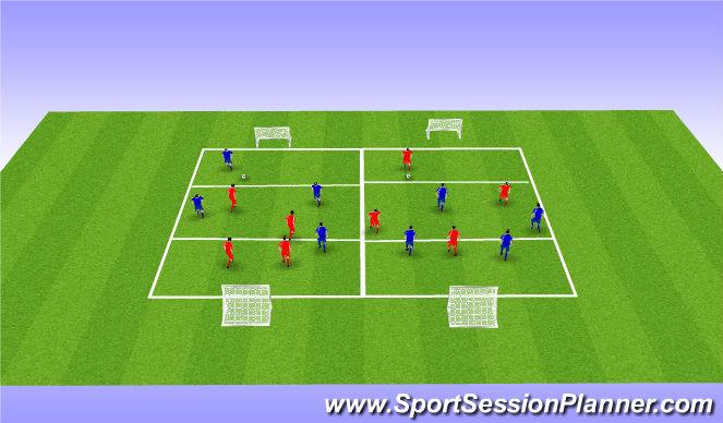Football/Soccer Session Plan Drill (Colour): 4v4's