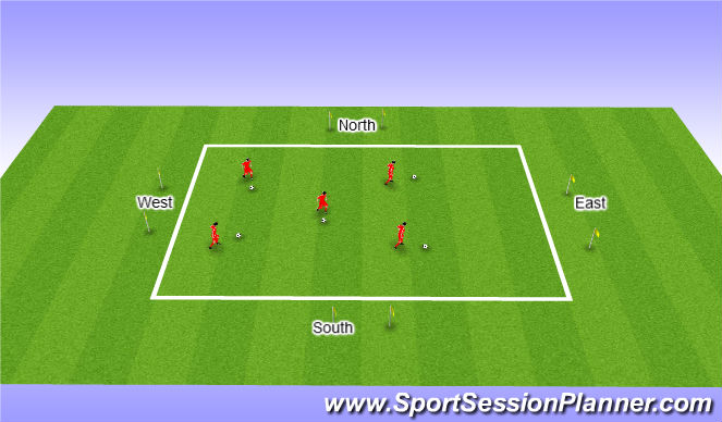 Football/Soccer Session Plan Drill (Colour): North and South