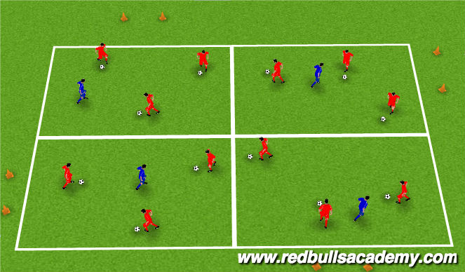 Football/Soccer Session Plan Drill (Colour): 4 Square