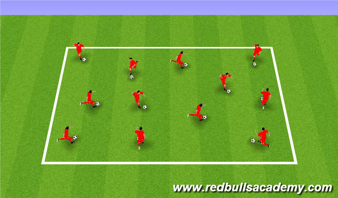 Football/Soccer Session Plan Drill (Colour): Receiving and Dribbling