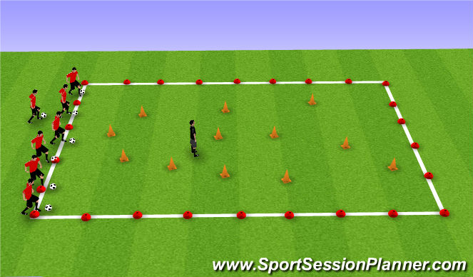 Football/Soccer Session Plan Drill (Colour): volcanoes