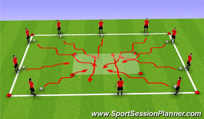 Football/Soccer Session Plan Drill (Colour): Cross over Dribbling