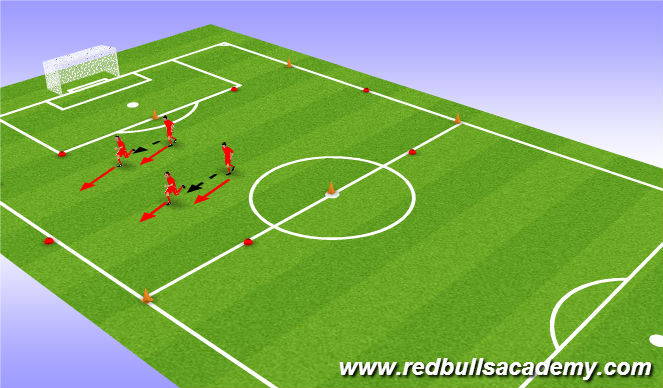 Football/Soccer Session Plan Drill (Colour): Ball control with speed
