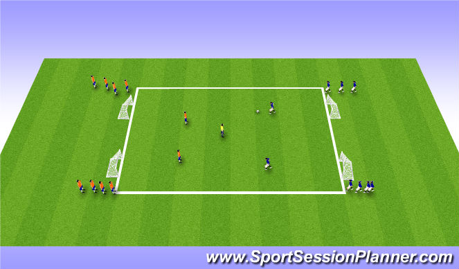 Football/Soccer Session Plan Drill (Colour): Small Sided Game (2v2 plus 1)