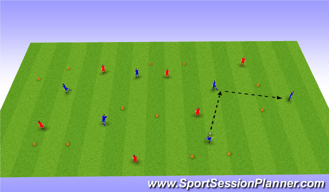 Football/Soccer Session Plan Drill (Colour): Passing & Receiving Oppossed game