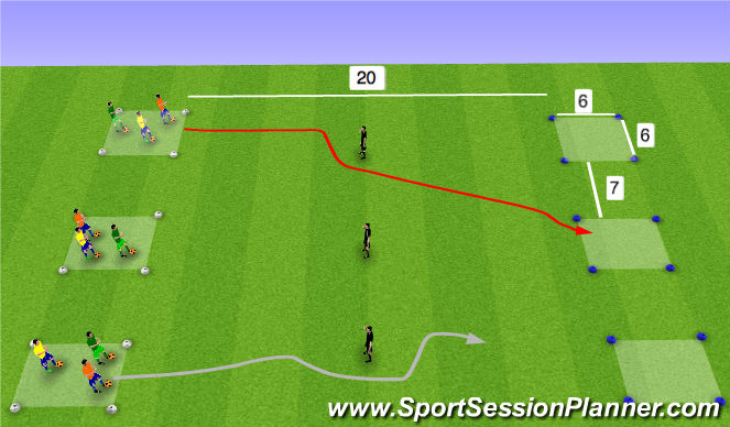 Football/Soccer Session Plan Drill (Colour): Reach the square