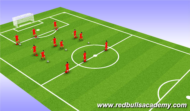 Football/Soccer Session Plan Drill (Colour): 4 player pass