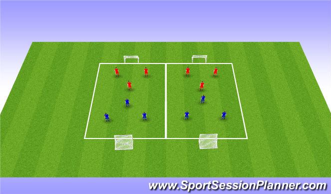 Football/Soccer Session Plan Drill (Colour): 3v3 Scrimmage Games