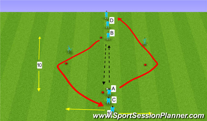 Football/Soccer Session Plan Drill (Colour): Pass and 45 Degree run