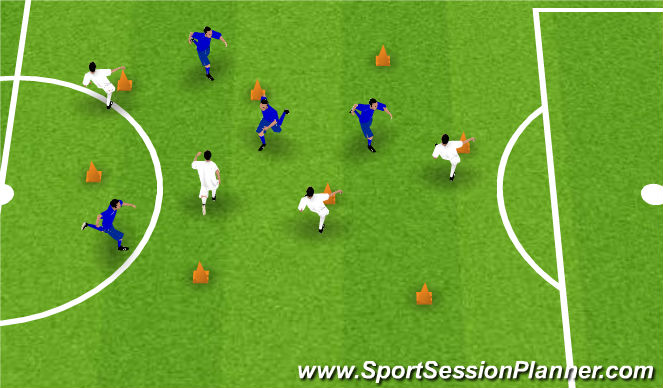 Football/Soccer Session Plan Drill (Colour): Zabawa ruchowa bez piłki, strąć pachołek