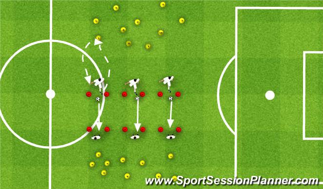 Football/Soccer Session Plan Drill (Colour): Rywalizacja w 2 po podaniu WCS